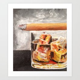 Whiskey and a cigar Art Print