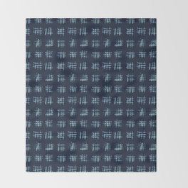 Indigo Blue Batik Dye  Hand Drawn Grunge Criss Cross Throw Blanket