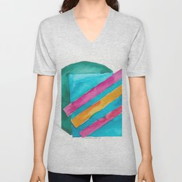180819 Geometrical Watercolour 3  | Colorful Abstract | Modern Watercolor Art Unisex V-Neck