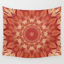 Mandala Flower red Wall Tapestry
