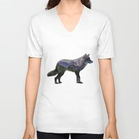 rocky V-neck T-shirts featuring The Rocky Mountain Gray Wolf by Davies Babies