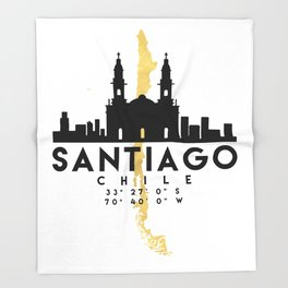 SANTIAGO DE CHILE SILHOUETTE SKYLINE MAP ART Throw Blanket