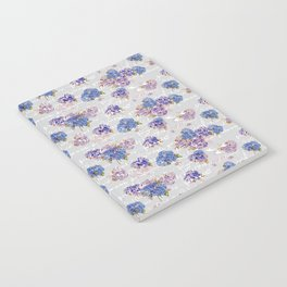 Hydrangeas and French Script with birds on gray background Notebook