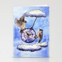clock Stationery Cards featuring Clock by Anna Shell