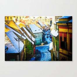 Street Scene in Sibiu, Romania Canvas Print