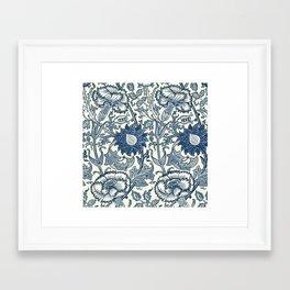 William Morris Navy Blue Botanical Pattern 5 Framed Art Print
