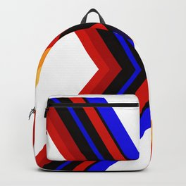 Coloured straight abstract lines resulting in a X format Backpack
