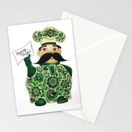 Little chef (green) in petrykivka style Stationery Cards