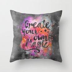 Create Magic handlettering colorful watercolor art Throw Pillow