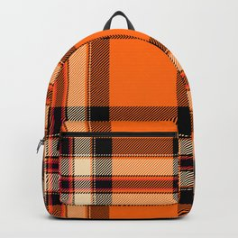 Argyle Fabric Plaid Pattern Autumn Orange & Black Colors Backpack