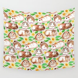Guinea Pigs and Daisies in Watercolor Wall Tapestry