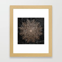 Mandala - rose gold and black marble 4 Framed Art Print