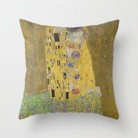 gustav klimt Throw Pillows featuring The Kiss - Gustav Klimt by Elegant Chaos Gallery