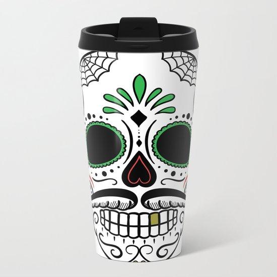 Day Dead Sugar Skull Metal Travel Mug