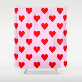 love heart pattern pink and red Shower Curtain