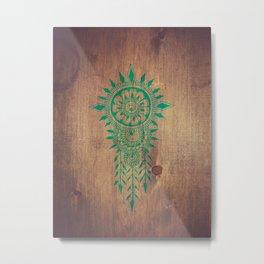 emerald green rustic mandala Metal Print