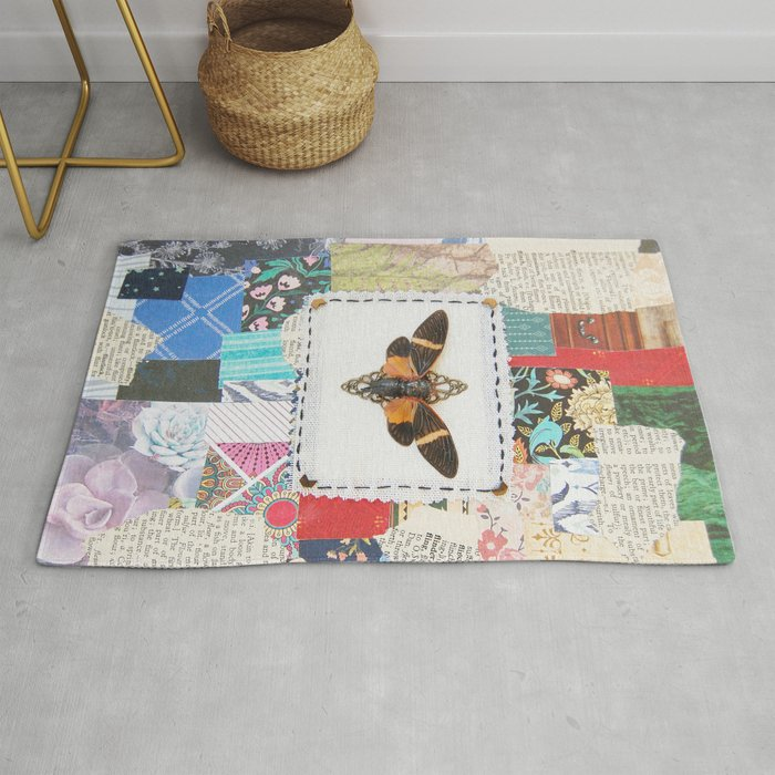 Patchwork Vintage Cicada Rug By Ghostthistle