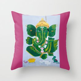 Pan Leaf Ganesh Throw Pillow