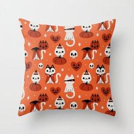 Halloween Kitties (Orange) Throw Pillow