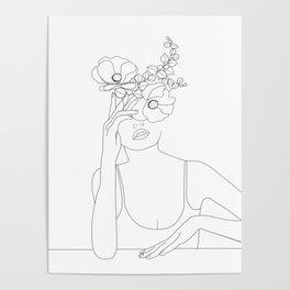 Minimal Line Art Woman with Flowers II Poster