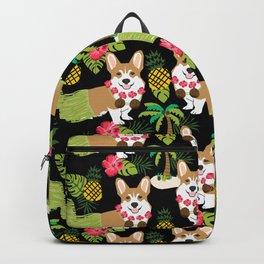Corgi Hula Tropical Summer pineapple palm tree dog dogs pattern Backpack