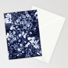 Bohemian Floral Nights in Navy Stationery Cards
