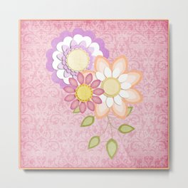 Colorful Spring Posy Pink Damask Style Brocade Metal Print