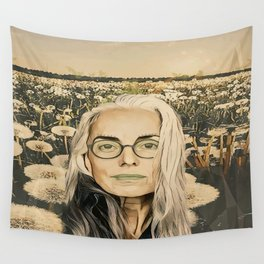 Old lady in the field Wall Tapestry