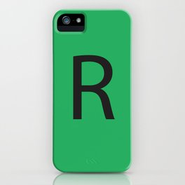 Letter R Initial Monogram - Black on Nephritis iPhone Case