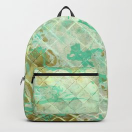 Turquoise & Gold marble mosaic Backpack