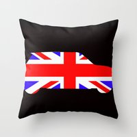 mini cooper Throw Pillows featuring Mini Cooper by Derek Donovan