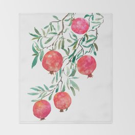 red pomegranate watercolor Throw Blanket