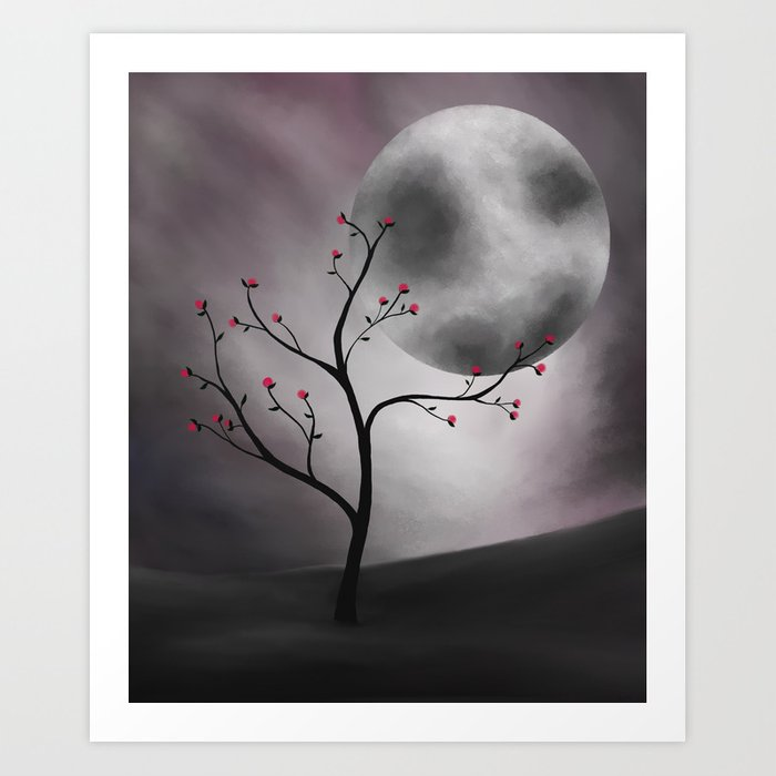 Midnight Peach Art Print