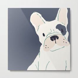 Cute French Bulldog (White w/ Spot) Metal Print