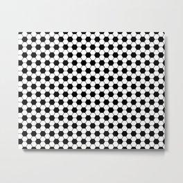 Ball pattern - Football Soccer black and white pattern Metal Print