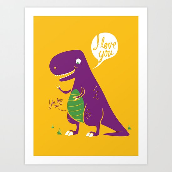 The Friendly T-Rex Art Print