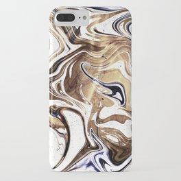 Metallic Gold Purple White Marble Swirl iPhone Case
