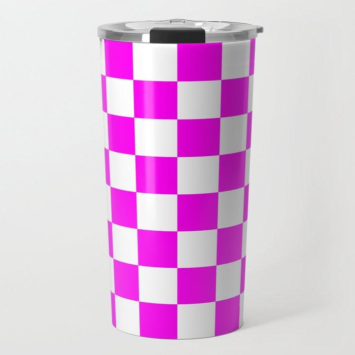 Checkered (Magenta & White Pattern) Travel Mug
