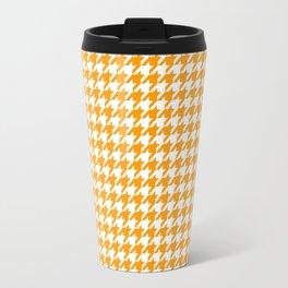 Friendly Houndstooth Pattern, orange Travel Mug