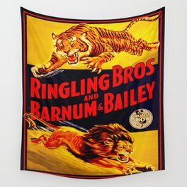 Vintage Circus Poster - Tiger & Lion Wall Tapestry