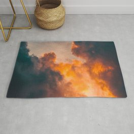 Beautiful Orange Whimsical Clouds Cotton Candy Texture Sky Cloud Photo Renaissance Painting Rug