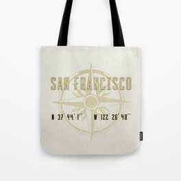 San Francisco - Vintage Map and Location Tote Bag