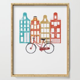 Vintage Dutch People Netherlands Amsterdam Bicycle Tour Tourist Vacation Serving Tray
