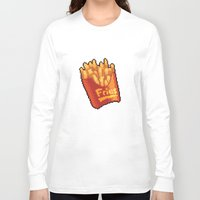 fries Long Sleeve T-shirts featuring Pixel Fries by TheSkywaker