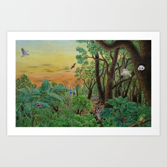 A Day of Forest (9). (the forest at night) Art Print