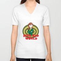 daria V-neck T-shirts featuring Daria by Manu Cafferini