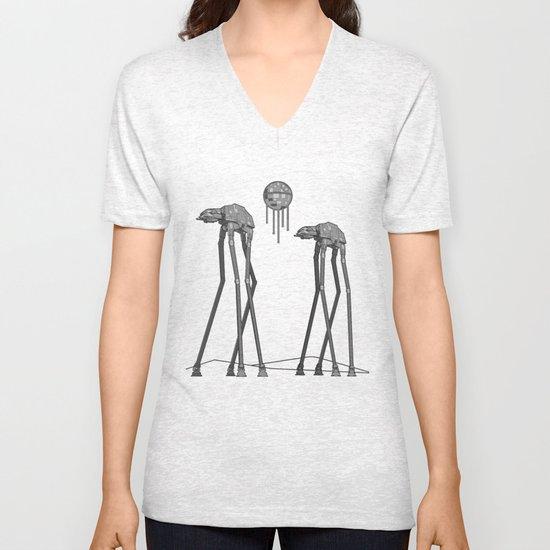 Dali's Mechanical Elephants - Black Sky Unisex V-Neck
