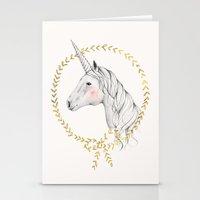 unicorn Stationery Cards featuring Unicorn by Kelli Murray