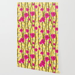 WHITE BUTTERFLIES & CERISE PINK ROSE THORN CANES YELLOW Wallpaper