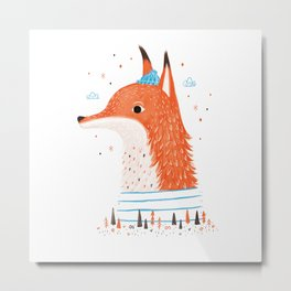 Foxy Forest Metal Print
